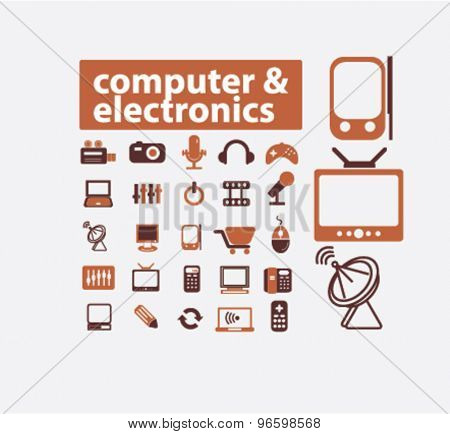 computer, electronics, gadgets, icons, signs, illustrations set, vector