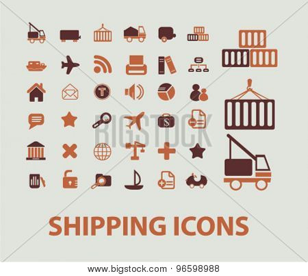 shipping, logistics, delivery icons, signs, illustrations set, vector