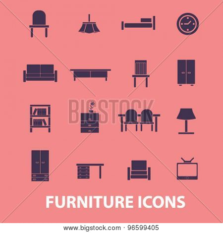 furniture, interior, desk, sofa, lamp, clock, chair isolated signs, icons vector set for web, application, design.