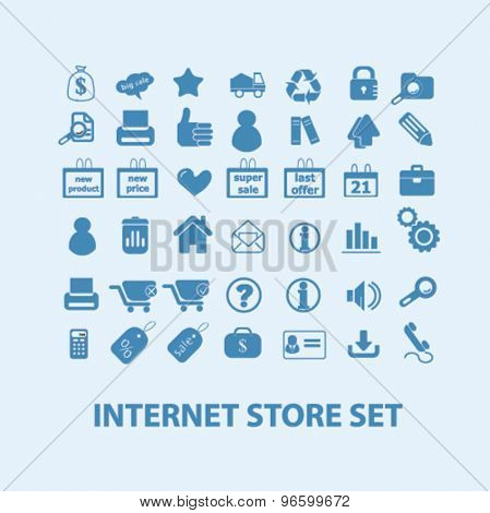 internet commerce, store, shopping isolated signs, icons vector set for web, application, design.
