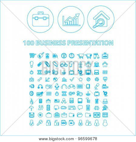 100 business presentation outline isolated signs, icons vector set for web, application, design.