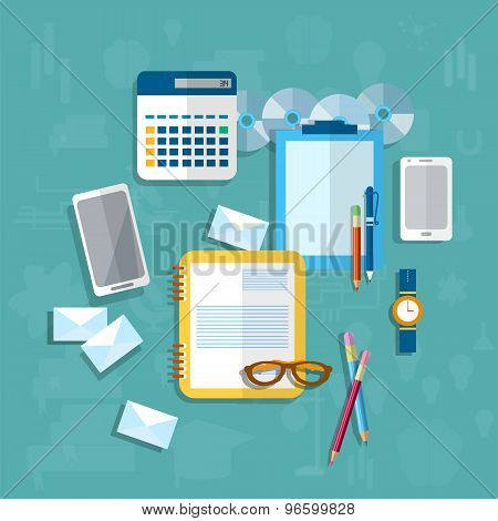 Education, Student Desk, Communication, Messaging, Desk In Office, Working Space,vector