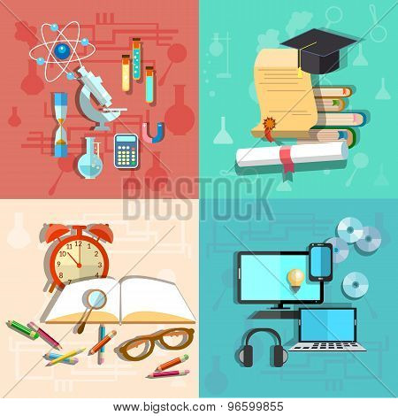 Education And Science: Online Learning, College, School, University, Computer, vector illustration