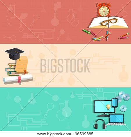 Education, Online Learning, School Subjects, Student, College, University, vector banners