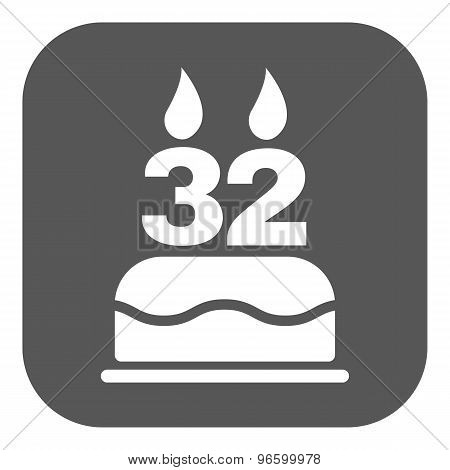 The birthday cake with candles in the form of number 32 icon. Birthday symbol. Flat