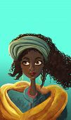 image of face painting  - African girl face portrait painting illustrations on blue - JPG