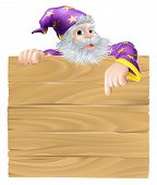 pic of peep  - Cartoon sign and wizard illustration of an older wizard man peeping over a sign and pointing down - JPG