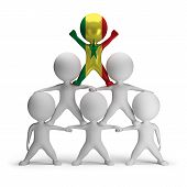 image of human pyramid  - 3d small people standing on each other in the form of a pyramid with the top leader Senegal - JPG