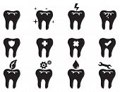 picture of oral  - Black and white vector icon set of conceptual symbols on tooth isolated on white background for dental and oral care - JPG
