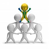 stock photo of human pyramid  - 3d small people standing on each other in the form of a pyramid with the top leader Saint Vincent  - JPG