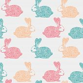 stock photo of hare  - Seamless vector pattern with hand drawn ornamental rabbit illustration - JPG