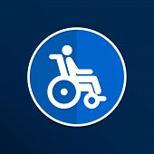 Постер, плакат: handicap handicapped chair wheel accessible an invalid icon