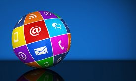 picture of blog icon  - Website and Internet contact us web icons and symbol on a colorful globe for blog and online business illustration with copy space on blue background - JPG