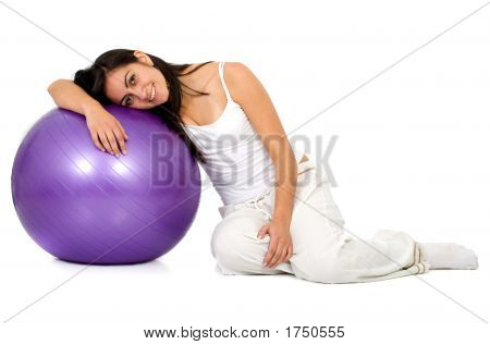 Girl With A Pilates Ball