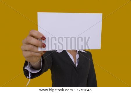 Businesswoman Holding A Card 2