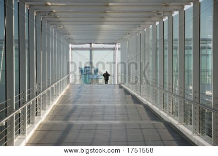Airport Corridor With Man