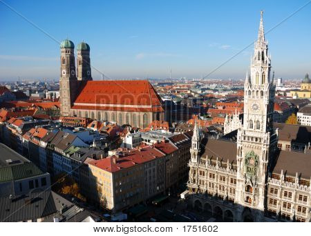 Frauenkirche And Town Hall Munich