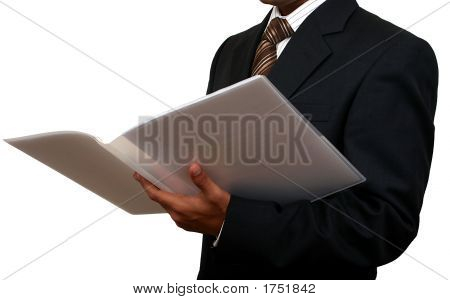 Indian Business Man Reading A File