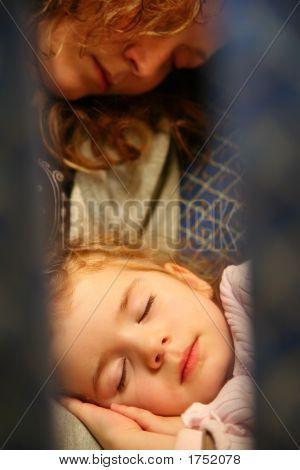 Mother Child Airplane Sleep