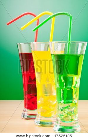 Colorful cocktail in glasses