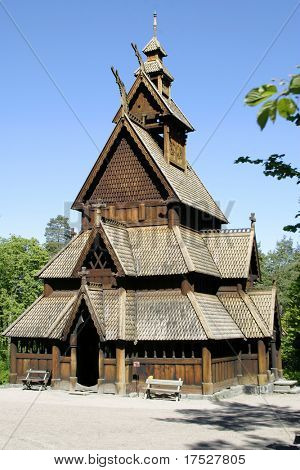 Stavkirke (stave church) located at the folk museum in Oslo, Norway.  The Norwegian Stave Churches are some of the oldest wooden structures in the world.