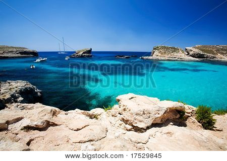 Blue lagoon swimming cove, Comino island.
