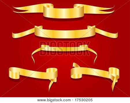 A group of golden banners over red
