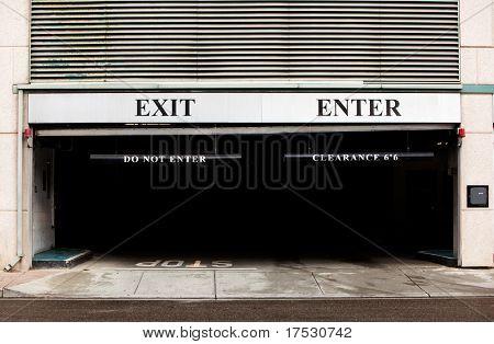 A concrete parking detail, exit and enter