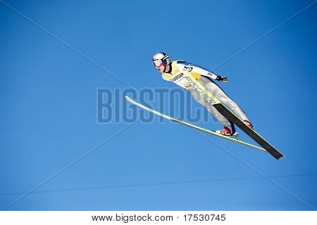 VIKERSUND, NORWAY - MARCH 15: First place winner Gregor Schlierenzauer of Austria competes in the FIS World Cup Ski Jumping Competition on March 15, 2009 in Norway.