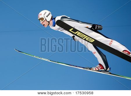 VIKERSUND, NORWAY - MARCH 15: Johan Remen Evensen of Norway competes in the FIS World Cup Ski Jumping Competition on March 15, 2009 in Norway.