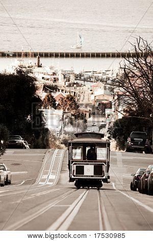 A San Francisco cable car desending down Hyde Street