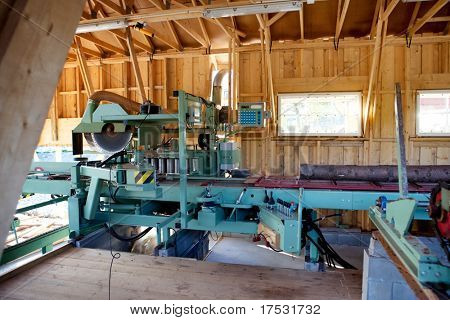 An interior of a small saw mill