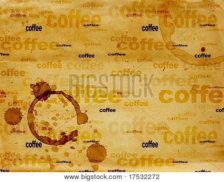 Texture - a sheet of the old, soiled paper with drops of coffee