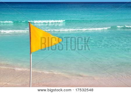 beautiful beach yellow flag weather indication signal