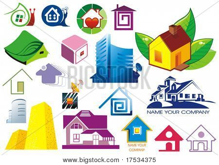 House vector Icons for Web. Construction or Real Estate concept. Abstract color element set of corporate templates. Just place your own brand name. Collection 5.