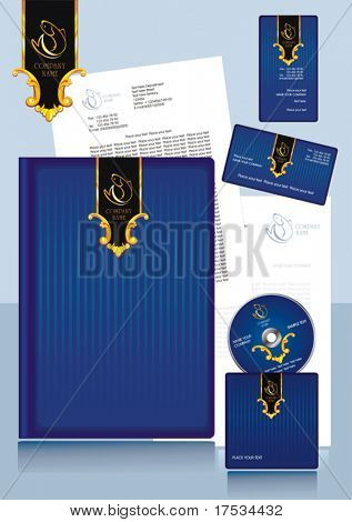 Office elements and accessories. Vector business set of secretarial things and supplies. Workplace with paper and folder. Collection _6