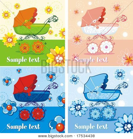 Four different baby stroller styles for baby boys and girls. Arrival announcement floral card. Vector illustration of a pram over light pattern. Baby carriage, from my backgrounds childlike series.