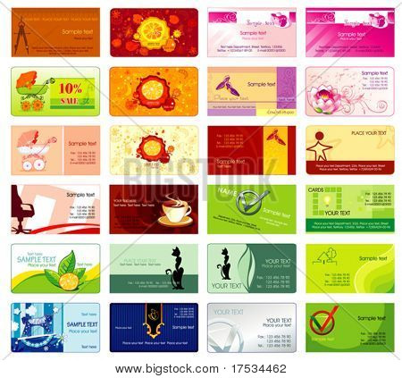 Set of colorful business cards with firm styles. Graphic illustrations with abstract icons. Design vector templates collection 2