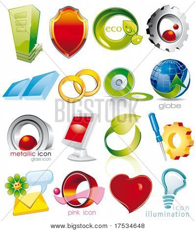 Set of vector 2D and 3D shiny, brilliant glossy Colorful Design elements. Collection_1