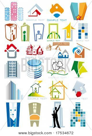House vector Icons for Web. Construction or Real Estate concept. Abstract color element set of corporate templates. Just place your own name. Collection 15.