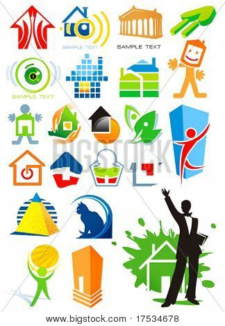 House vector Icons for Web. Construction or Real Estate concept. Abstract color element set of corporate templates. Collection 16.