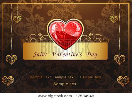 Abstract Classical congratulation card with glossy red hearts. Vector frame background with Place for your text. Golden and Chocolate illustration for design of packing - Saint Valentine's Day.