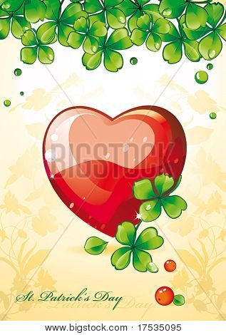 Dias cartão Beautiful são Patrício. A ilustração vetorial com coração e folhas de trevo. Re