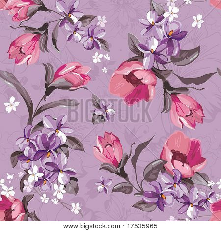 Elegance Seamless wallpaper pattern with of pink flowers on violet background, floral vector illustration