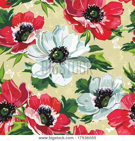 Elegance Seamless color flowers pattern on beige background, vector illustration