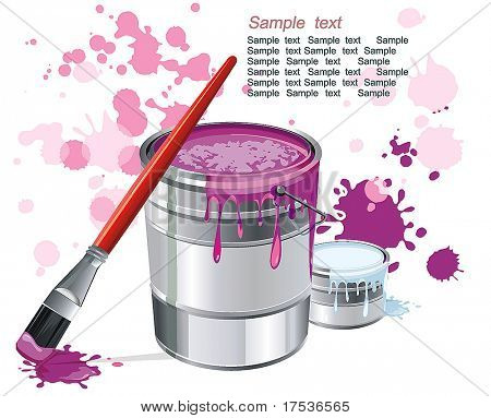 Can of magenta paint and professional brush on color stains. Stylish bright Illustration of painting brushes. Beautiful poster for design.