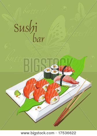 Maki Sushi - Roll made of Fresh Salmon outside. Seafood set of sashimi on rectangular white plate - traditional Japanese food with chop sticks, vector illustration.