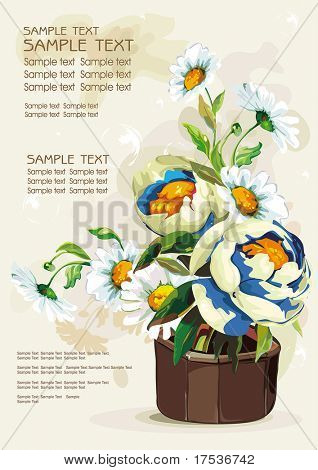 Flowers in a ceramic pot isolated on light background, Elegance retro vector illustration.
