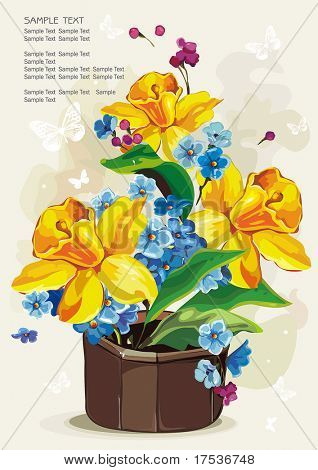 Colored flowers in a ceramic pot on light background, Elegance retro vector illustration.