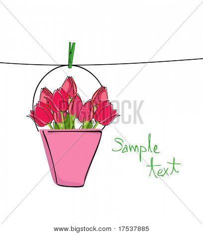 Tulpen auf der Wäscheleine